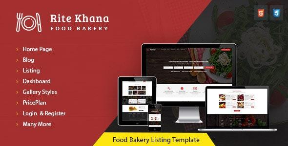 RiteKhana Food Bakery Listing & Restaurant Listing HTML Template - Retail Site Templates