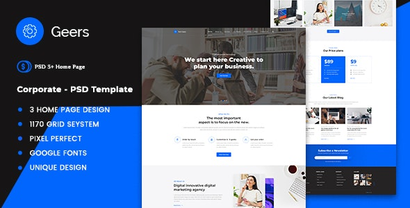 Geers - Digital Agency & Portfolio PSD Template - Corporate Photoshop