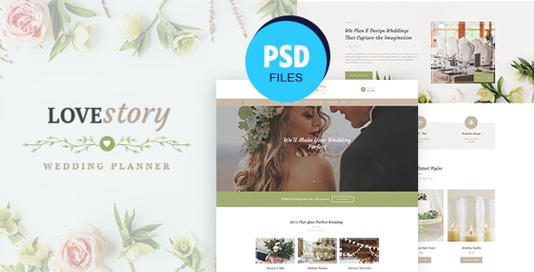Love Story | Wedding and Event Planner PSD Template - Entertainment Photoshop
