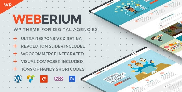 Weberium | Responsive WordPress Theme Tailored for Digital Agencies - Marketing Corporate