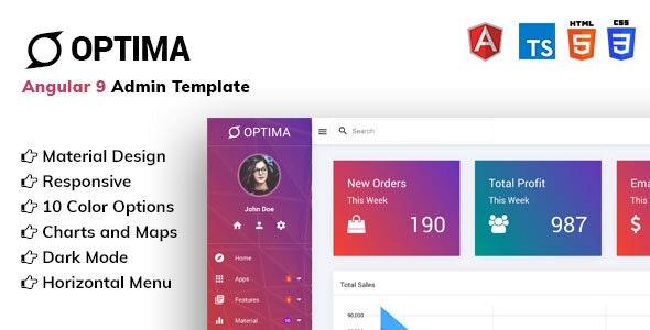 Optima - Angular 9 Material Design Admin Template - Admin Templates Site Templates