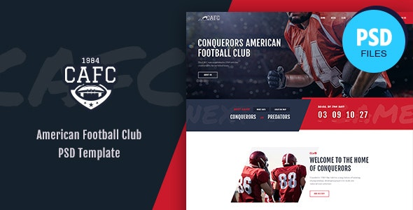 Conquerors | American Football & NFL PSD Template - Entertainment PSD Templates