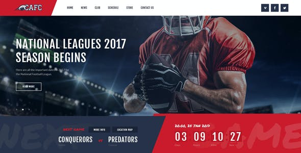 Conquerors | American Football & NFL PSD Template
