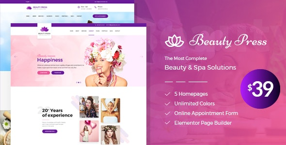 Beauty Salon Spa WordPress Theme - Health & Beauty Retail