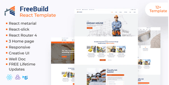 FreeBuild - Construction React Template - Business Corporate