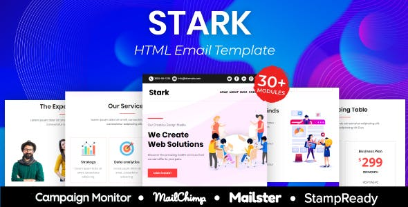 Stark - Multipurpose Responsive Email Template 20+ Modules - Mailster & Mailchimp
