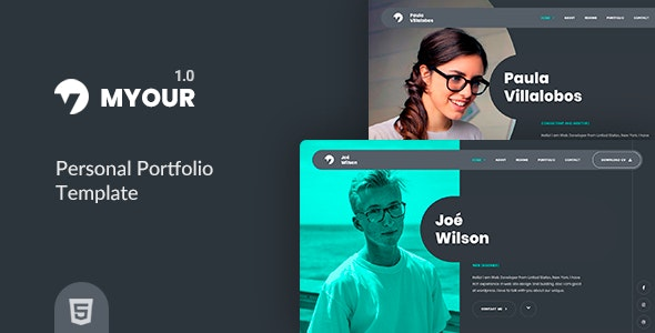 Myour | Personal Portfolio Template - Virtual Business Card Personal
