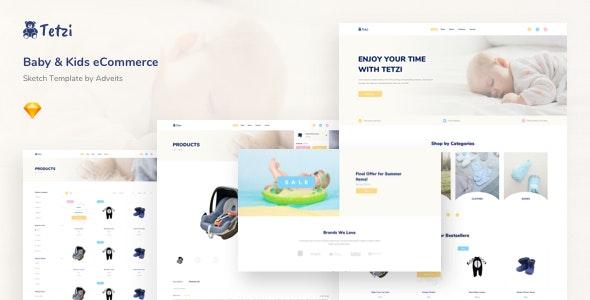 Tetzi - Baby & Kids eCommerce Sketch Template - Sketch Templates