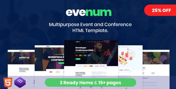 Evenum - Multipurpose Event and Conference HTML Template - Events Entertainment