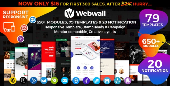 Webwall - Multipurpose Responsive Email Template + StampReady & CampaignMonitor compatible files - Newsletters Email Templates