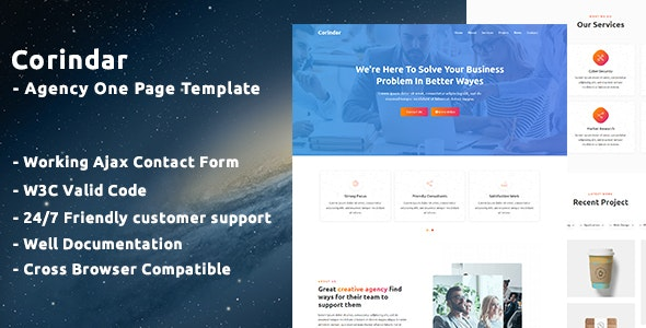 Corindar - Agency One Page Template - Business Corporate
