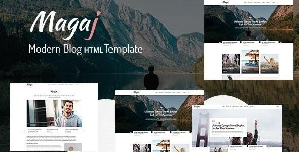 Magaj - Modern Blog HTML Template - Personal Site Templates