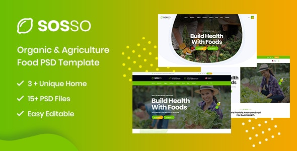 Sosso - Agriculture & Organic Food PSD Template - Food Retail