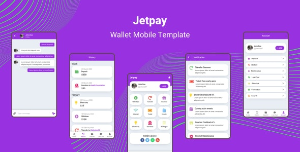 Jetpay - Wallet Mobile Template - Mobile Site Templates