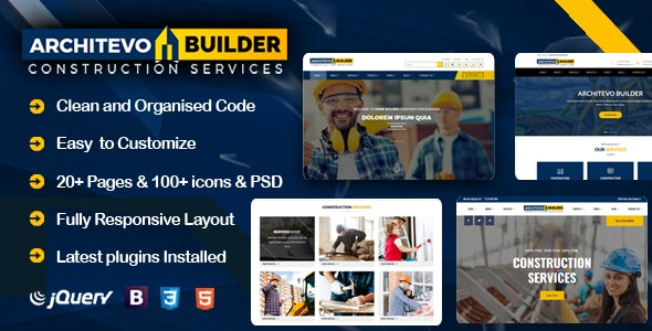 Architevo Builder Construction HTML5 Bootstrap Templates - Business Corporate