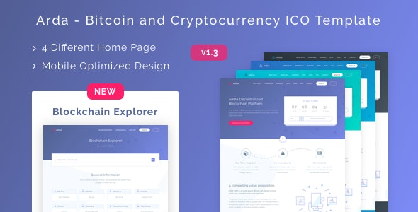 Arda - Bitcoin and Cryptocurrency ICO HTML Template - Technology Site Templates