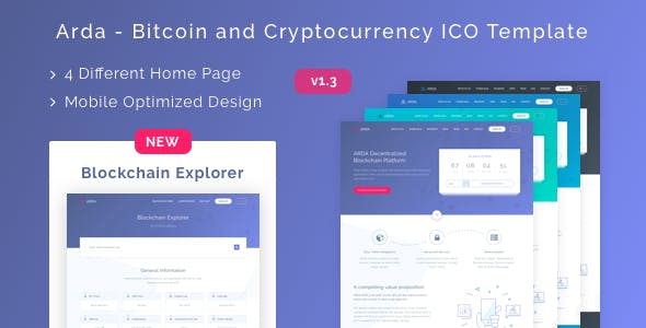 Arda - Bitcoin and Cryptocurrency ICO HTML Template