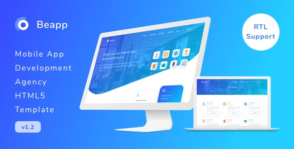 Beapp - Mobile App Development Agency HTML5 Template + RTL Support - Creative Site Templates