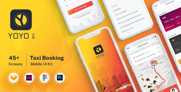 YOYO CAB - Taxi Booking UI kit for Mobile App - Sketch Templates