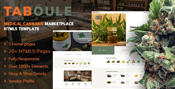Taboule | Medical Cannabis Marketplace HTML5 - Retail Site Templates