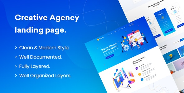 Siktom - Agency Landing Page PSD Template - PSD Templates
