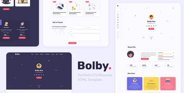 Bolby - Portfolio/CV/Resume HTML Template - Virtual Business Card Personal