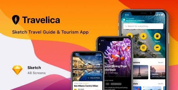 Travelica - Sketch Travel Guide & Tourism App - Sketch Templates