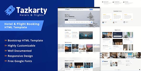 Tazkarty - Hotel & Flight Booking HTML Template - Travel Retail