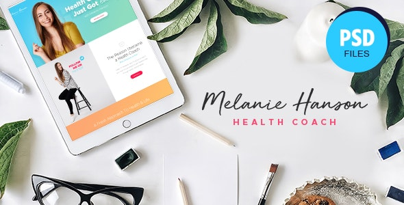 Melanie Hanson - Health Coach Blog & Lifestyle Magazine PSD Template - Health & Beauty Retail