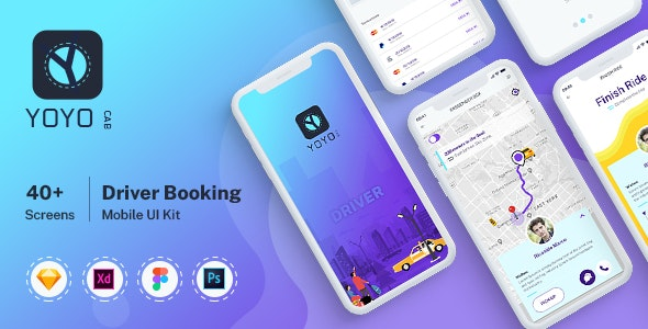 YOYO CAB - Driver Booking UI kit for Mobile App - Sketch Templates