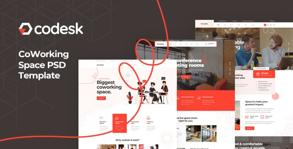 Codesk - Coworking Space PSD Template - Business Corporate