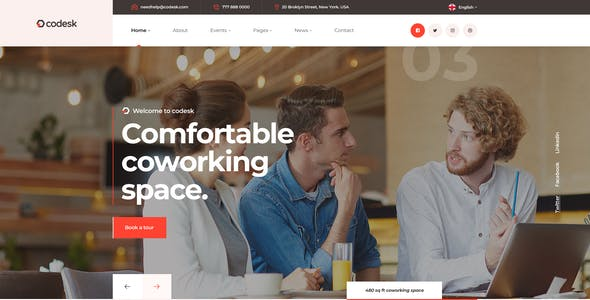 Codesk - Coworking Space PSD Template