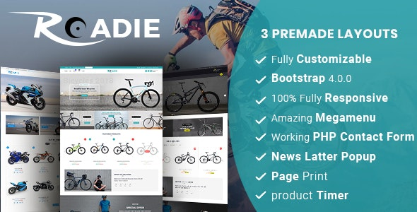 Roadie- Responsive Multipurpose E-Commerce HTML5 Template - Retail Site Templates