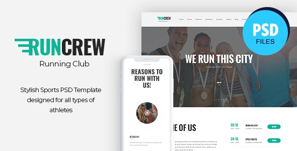 RunCrew | Running Club, Marathon & Sports PSD Template - Health & Beauty Retail