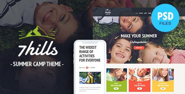 SevenHills - Hiking Summer Camp Children PSD Template - Children Retail