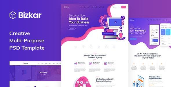Bizkar - Creative Multi-Purpose PSD Template - Business Corporate