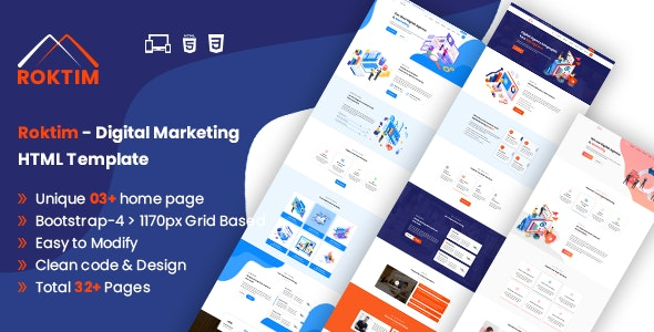 Roktim - Digital Marketing HTML Template - Marketing Corporate