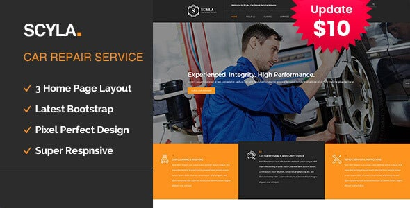 Scyla - Auto Mechanic & Car Repair Template - Business Corporate