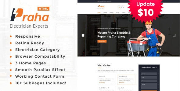 Praha - Electrician Experts HTML Template - Business Corporate