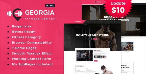 Georgia   Gym & Fitness HTML Template - Health & Beauty Retail