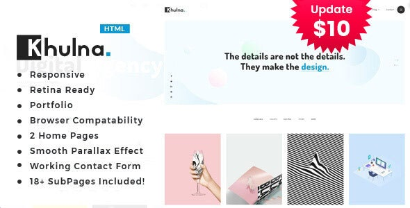 Khulna - Colourful Minimal Digital Agency HTML Template - Portfolio Creative