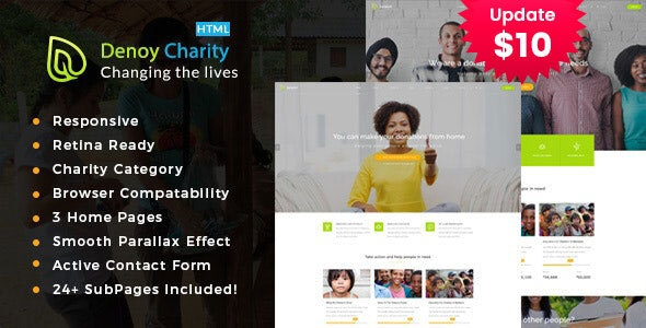 Denoy || Responsive HTML Template for Charity & Fund Raising - Charity Nonprofit