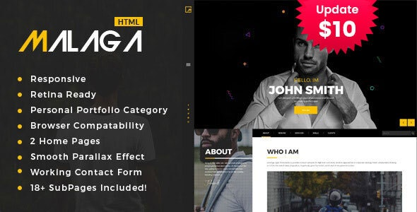 Malaga : Personal Portfolio HTML Template - Portfolio Creative
