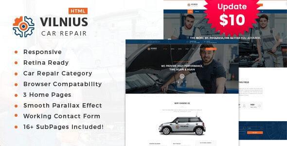Vilnius || Auto Mechanic & Car Repair Template - Business Corporate
