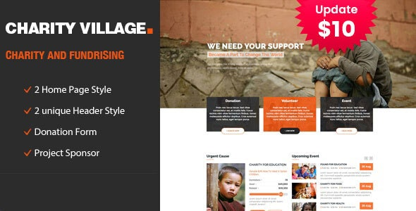 Charity Village - Responsive HTML Template for Fund Raising - Charity Nonprofit