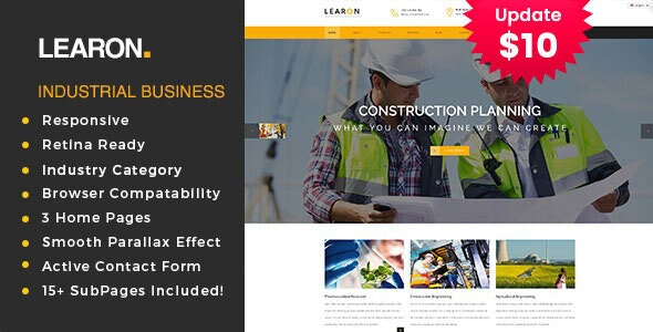 Learon - Factory & Industrial Business Template - Business Corporate