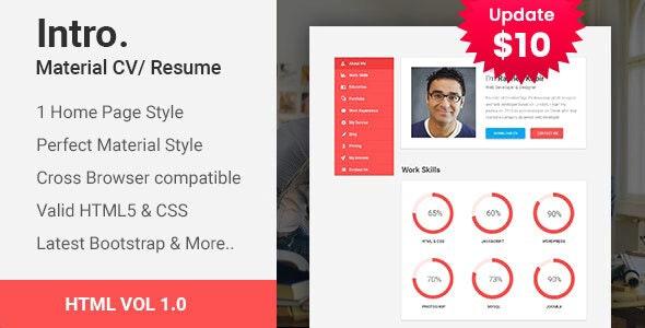 Intro | Material CV/Resume HTML template - Portfolio Creative