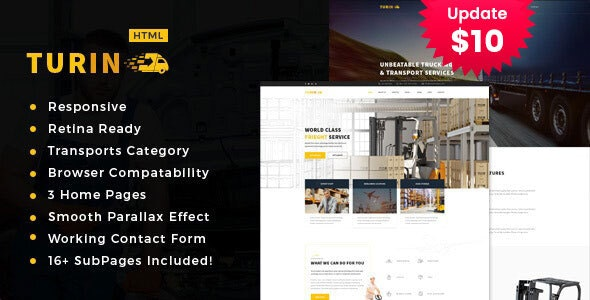 Turin - Transport and logistics HTML5 Template. - Business Corporate
