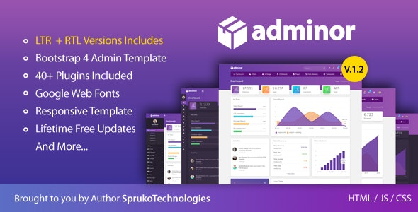 Adminor - Clean & Modern Responsive Bootstrap4 Admin Dashboard HTML5 Template - Admin Templates Site Templates