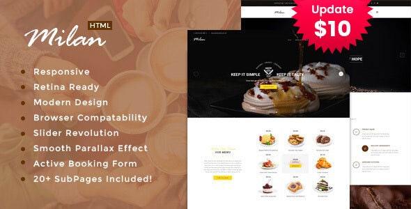 Milan : Restaurant Site Template - Restaurants & Cafes Entertainment
